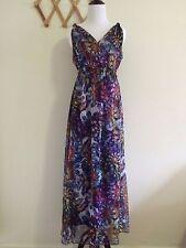 LIV Women's Bohemian Style Floral Print Maxi Chiffon Dress .Size M.New With Tags