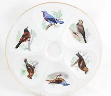 FAB SET 2 OYSTER SEAFOOD SERVING PLATES LOURIOUX PORCELAIN FRANCE 6 BIRDS GOLD