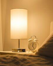 Nachttischlampe, Tischlampe aus Stoff, mit Glühbirne, Touch Control, Weiß