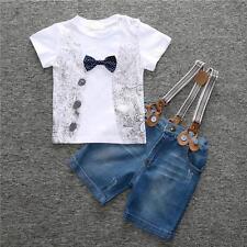 Kids Baby Boys T-Shirt + Denim Pants Jeans Trouser Clothes 2Pcs Outfits Set 3T