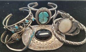 LOT 153 GRAMs Vintage Mixed NAVAJO ZUNI NATIVE AMERICAN Sterling Jewelry Lot