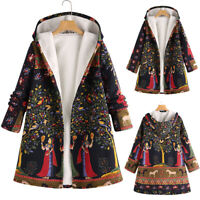 ZANZEA Womens Winter Vintage Hooded Jacket Fleece Coat Hoodies Outwear Plus Size