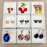 9 Gift Boxed Earrings Pendant Brooch - Dog Cat Strawberry Cherries Pineapple