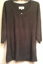 Avenue Size 14/16 Gray 3/4 Sleeve Ribbed Women's Pullover Sweater 1X NWD