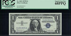Fr. 1621 1957B $1 Silver Certificate PCGS 68PPQ Superb Gem New SA Block
