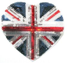 British Flag Heart Sequin Union Jack Iron On / Sew On Patch Badge 11 x 12 cm UK