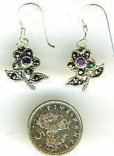 925 Sterling Silver Marcasite & Amethyst Flower Drop / Dangle Earrings L 1.1/8""