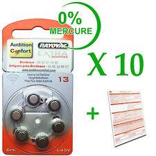 10 plaquettes de 6 piles pour appareil auditif RAYOVAC N° 13  (PR70) 0% mercure