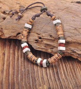 G164 C Handmade Craft Hemp Surfer Wristband Bracelet Bangle Ceramic Clay Beads