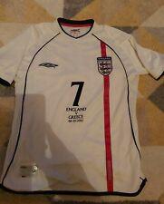 Beckham Inglaterra Umbro Hogar Camiseta De Fútbol Jersey Pequeño Hombres Inglaterra v Grecia