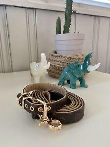 Luxury dog monogram collar with matching leash set combo MEDIUM SIZE