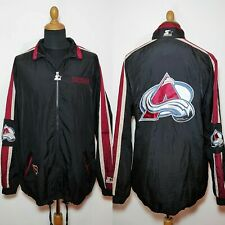 Vintage Colorado Avalanche Starter Jacket XL Black NHL Hockey Windbreaker Rain