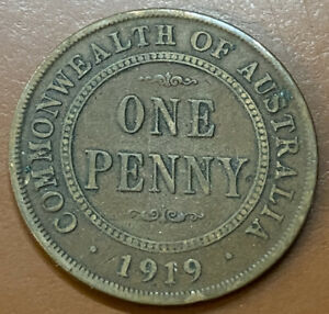 1919 Australia One Penny No Dot Cent Copper Original Australian Coin - TCCCX