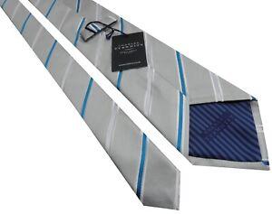 CHARLES TYRWHITT Jermyn Street London Mens Walter Silver Striped Woven Silk Tie