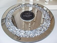 LARGE DIAMANTE GEMS SPARKLY MIRRORED CANDLE PLATE CENTREPIECE WEDDING TABLE NEW