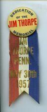 1957 Jim Thorpe Football Memorial Pennsylvania Pin w/ Ribbon