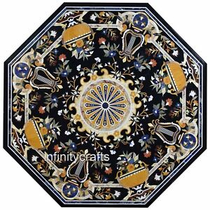 48 Inches Marble Dining Table Top Marquetry Art Black Office Meeting Table Top