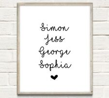 Personalised Family Names Typography Print Poster Love Unframed Home Quote Gift