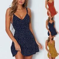 Womens Boho Floral Summer V Neck Party Evening Beach Short Mini Dress Sundress
