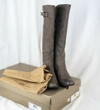 Born Crown Leather Riding Boots SZ 10 Tall  Sosie Gray Suede Buckle Zipper w Box