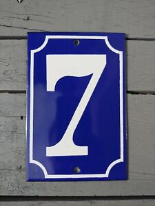 GREAT! FRENCH # 7 Home Address Enameled Porcelain Sign Plate Tile Numbers
