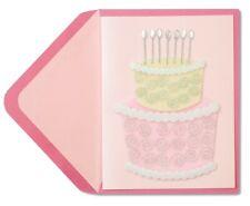 Beautiful Papyrus Birthday Card Pink Cake Silver Sprinkles & Silver Spoons Gems