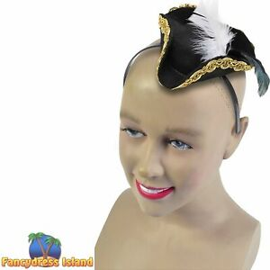 BUCCANEER MINI PIRATE HAT ON HEADBAND Ladies Womens Fancy Dress Accessory