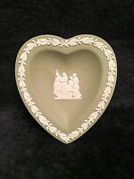 Wedgwood Jasperware Pin Dish Oval Trinket Green Heart Pin Tray with box