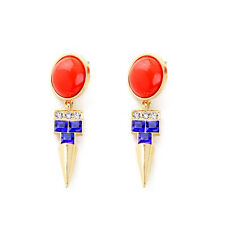 Boucles d`Oreilles Clou Doré Rond Orange Spike Metal Bleu Art Deco Original BB 8