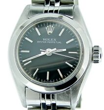 Ladies Rolex Stainless Steel Oyster Perpetual Watch Jubilee w/Black Dial 6718