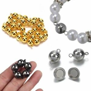 10 Pcs 6mm/8mm Round Beads Magnetic Clasp DIY Connectors Jewelry Bracelet