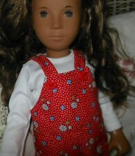 "Red White Daisy Flower Dungarees 3pce set 16""-17""Sasha doll Lesley Shaw NEW"