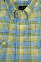 Jos A Bank Men's Travelers Green Blue Check Linen Casual Shirt L Large