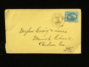 PA WHITE HAVEN 1883 COVER #184 FANCY WHEEL OF FORTUNE CANCEL