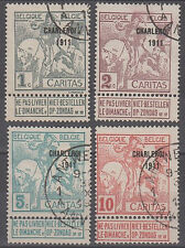 BELGIUM 1911 Charleroi Fair on Caritas stamps Van Dick paintings -4v used- F181