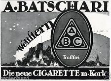 Zigarette Batschari Weltstern Reklame von 1917 Hans Rudi Erdt Benediktbeuren ad