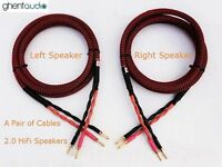 S02(1.5m 5ft)--Pair HIFI Audiophile Audio OFC Speaker Cable 4x13awg Banana Plug