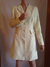 NELL COUTURE METALLIC YELLOW COTTON TRENCH LONG JACKET BLAZER DRESS COAT 4 NWOT