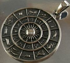 925 STERLING SILVER Zodiac Signs CHARM PENDANT oxidised finish