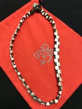 Uno De 50 Silver and Leather Necklace