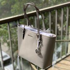 Michael Kors Womens Leather Medium Carryall Shoulder Tote Handbag Bag Purse grey