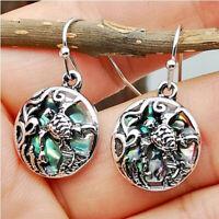 Vintage Antique 925 Silver Gemstone Turtle Dangle Hook Earrings Ear Jewelry Gift