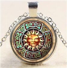 Celtic Sun Face Glass Cabochon Tibet Silver Pendant Chain Necklace + Free Gift