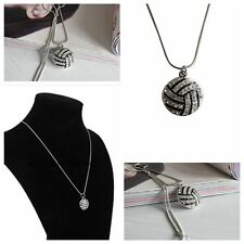 Sports Rhinestone Crystal Snake Chain Pendant Necklace Volleyball Modeling