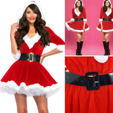 Ladies Santa Claus Christmas Costume Cosplay XMAS Outfit Waistbelt Fancy Dress