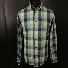Tommy Hilfiger Mens Shirt LARGE Long Sleeve Green Regular Fit Check Cotton
