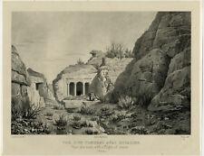 Antique Master Print-LANDSCAPE-TOMB-STAIRS-PETRA-Linant de Bellefonds-Deroy-1830