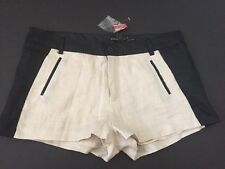 """Women's Black And White Linen Shorts By Poetry - Size Medium -30"""" Waist NWT"""