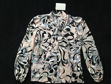 Emilio Pucci Silk Patterned Long Sleeve Shirt With Tie Bow Womens 8 *NEW* $1390