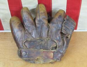 Vintage 1940s Rawlings Leather Baseball Glove Split Finger Mitt Martin Marion